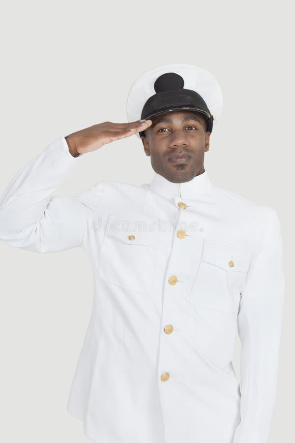 向致敬在灰色背景的一名年轻非裔美国人的美国海军官员的画象 免版税库存图片