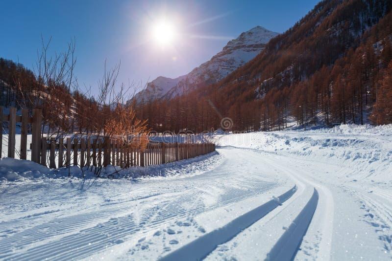 向滑雪胜地的积雪覆盖的路与snowcat轨道 免版税库存照片