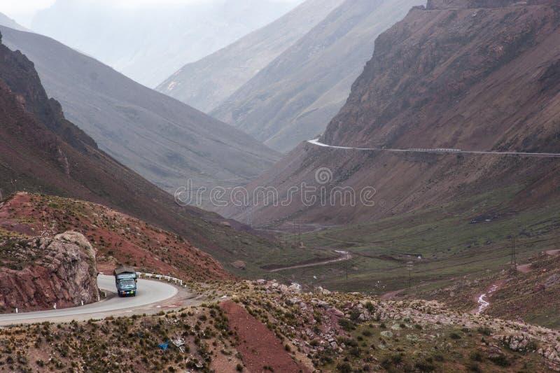 向Ticlio的路在秘鲁 免版税图库摄影