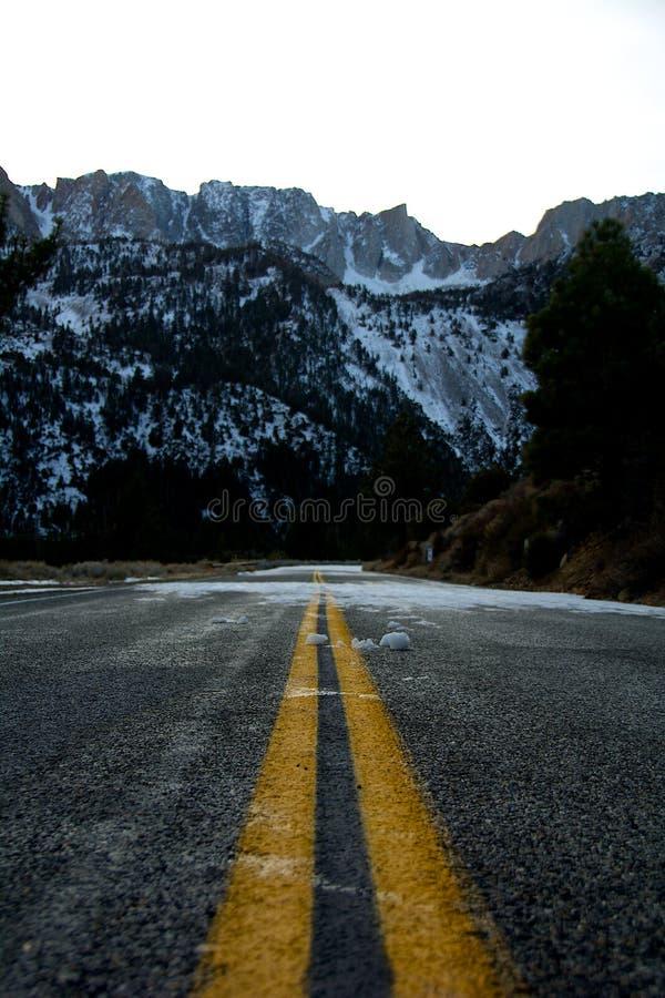 向Tioga通行证和雪的路 库存图片