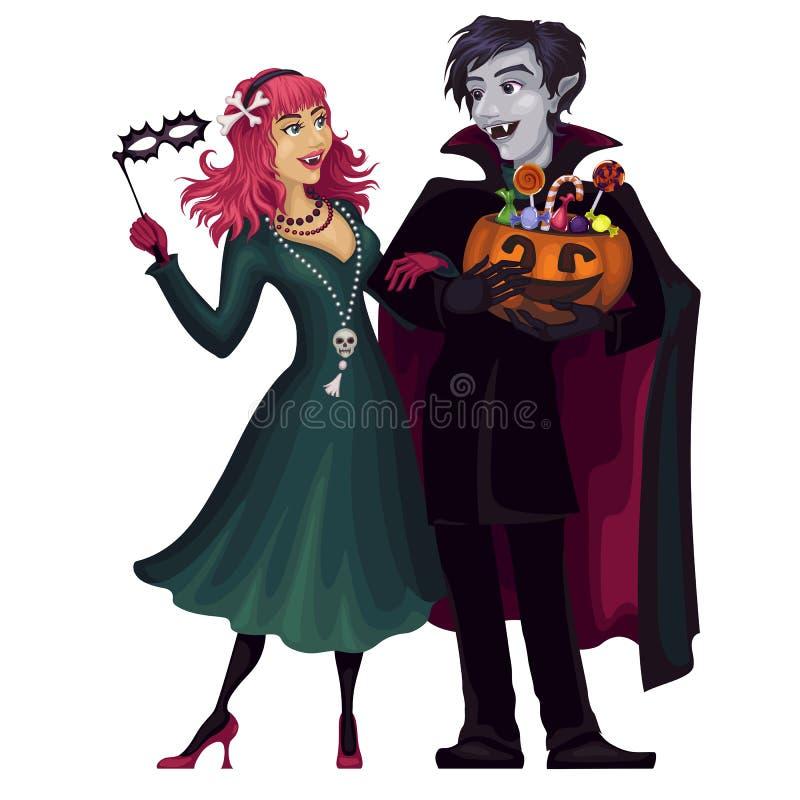 吸血鬼 万圣节 吓唬的阴沉的夫妇 ?? 化妆舞会 向量例证