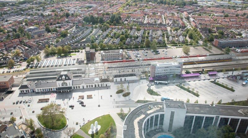 吕伐登,荷兰,2018年9月1日-鸟瞰图ove 免版税库存照片