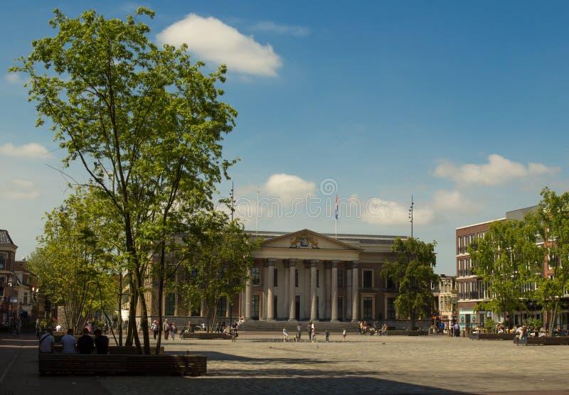 吕伐登法院大楼和Wilhelminaplein 库存图片