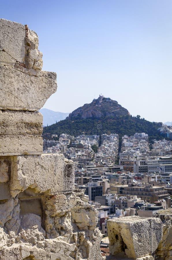 吕卡维多斯看法从帕台农神庙的 免版税库存照片