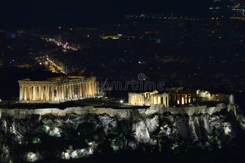 从吕卡维多斯(Lykavittos小山),雅典的希腊上城(帕台农神庙)都市风景 免版税库存照片