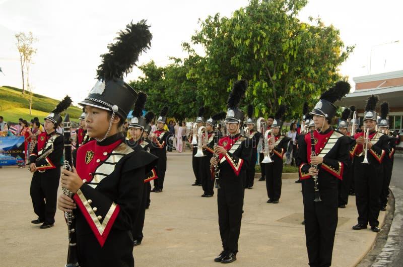 君主主义者的音乐家召集,泰国 免版税库存照片