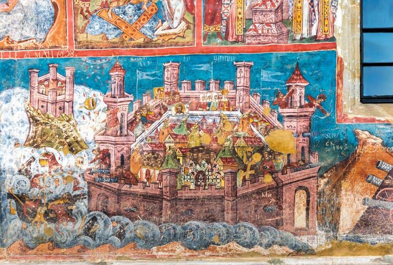 君士坦丁堡frescoe围困在Moldovita墙壁上的  免版税库存照片