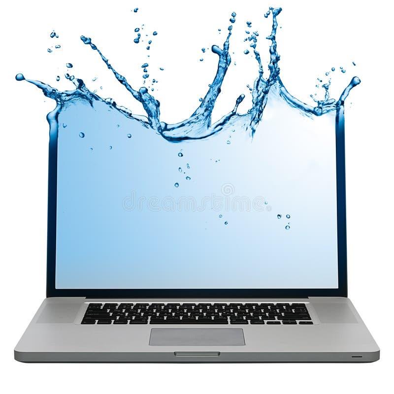 含水膝上型计算机的屏幕 免版税图库摄影