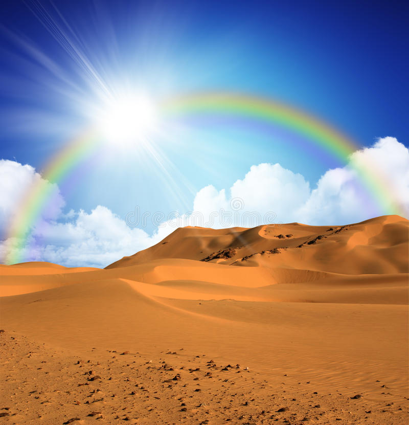 含沙白天的沙漠 库存图片