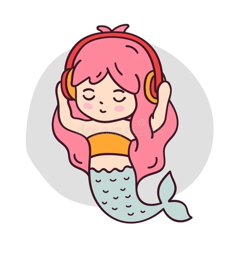 听到与眼睛的音乐的美人鱼关闭了 皇族释放例证