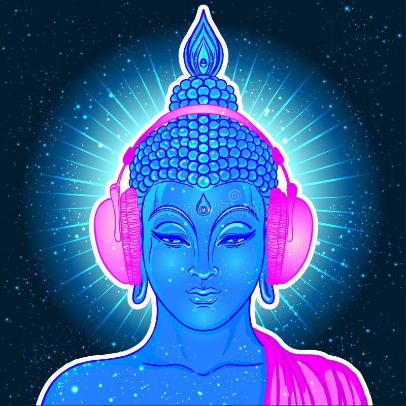 听到在耳机的音乐的现代菩萨在霓虹颜色 库存例证