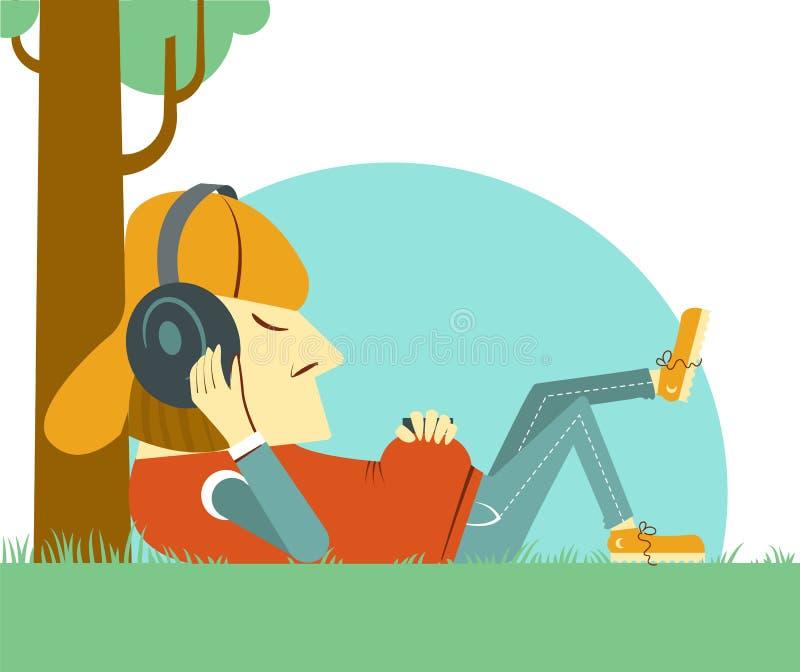 听到在自然绿草的音乐的年轻男孩 向量例证