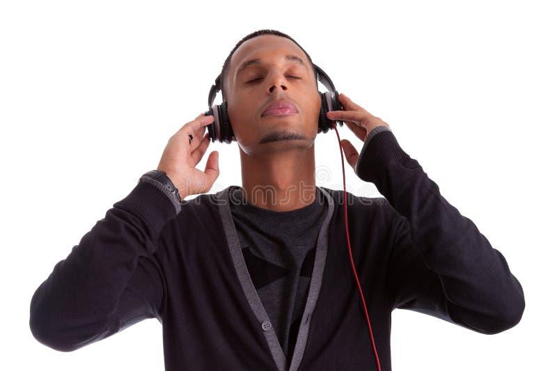 听到音乐的新黑人 库存图片