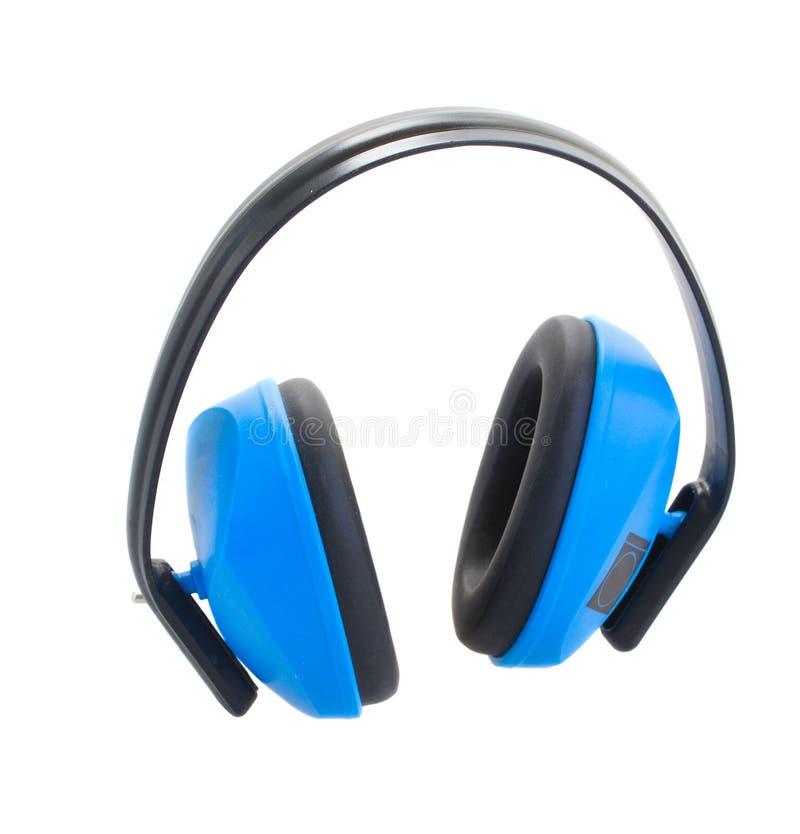 听力保护蓝色耳朵笨拙的人 免版税库存图片
