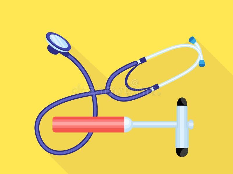听诊器医疗锤子象,平的样式 库存例证