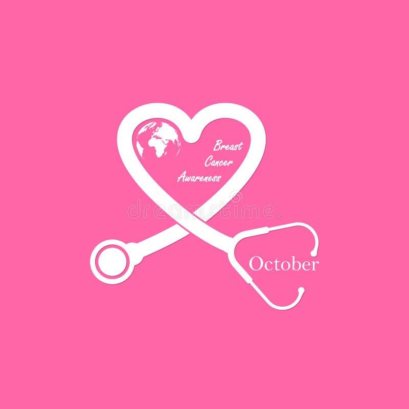 听诊器和心脏乳房象 乳腺癌10月Awarenes 皇族释放例证