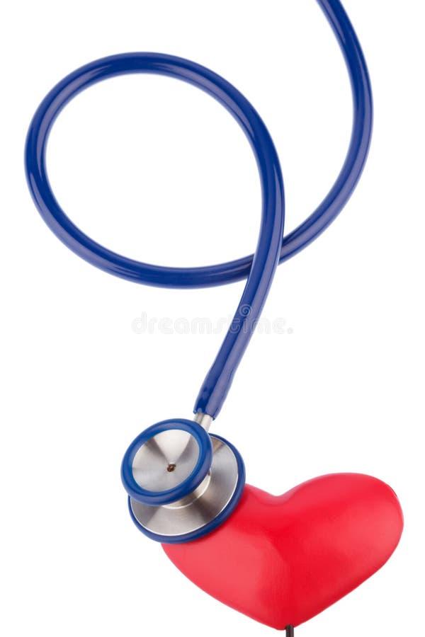 听诊器和心脏 免版税图库摄影