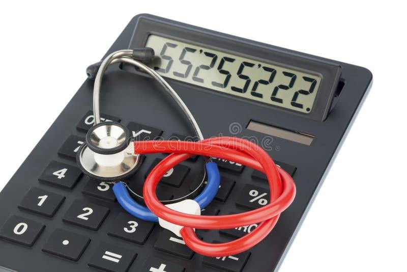 听诊器和计算器 库存图片