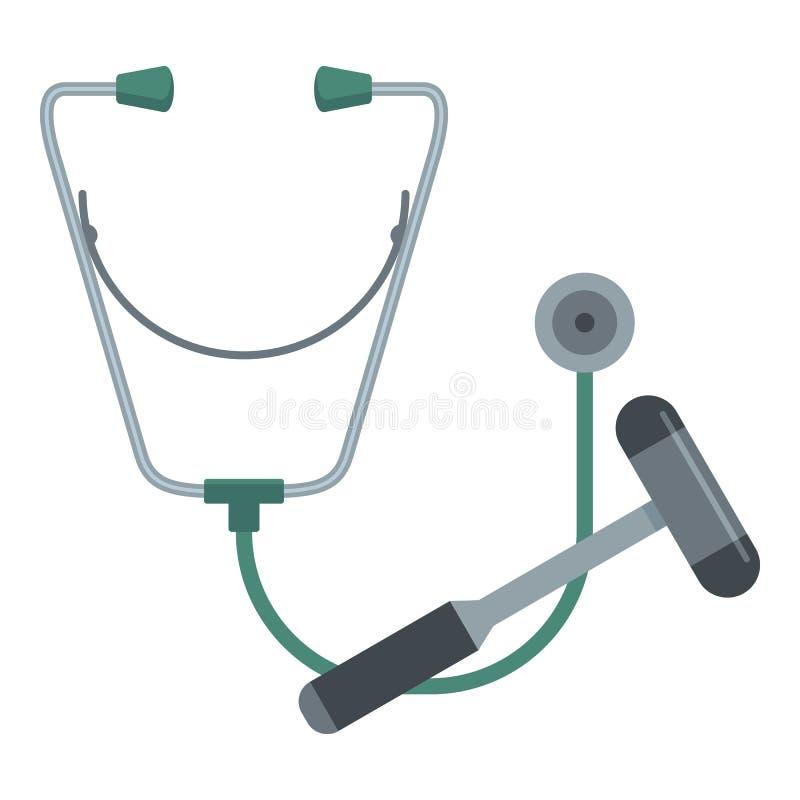 听诊器和锤子象,平的样式 库存例证