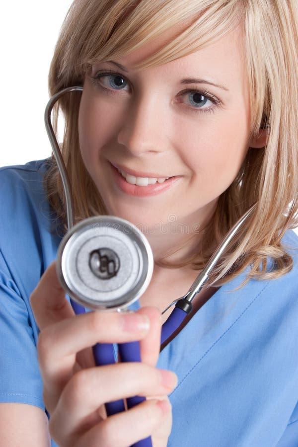 听诊器护士 免版税库存图片