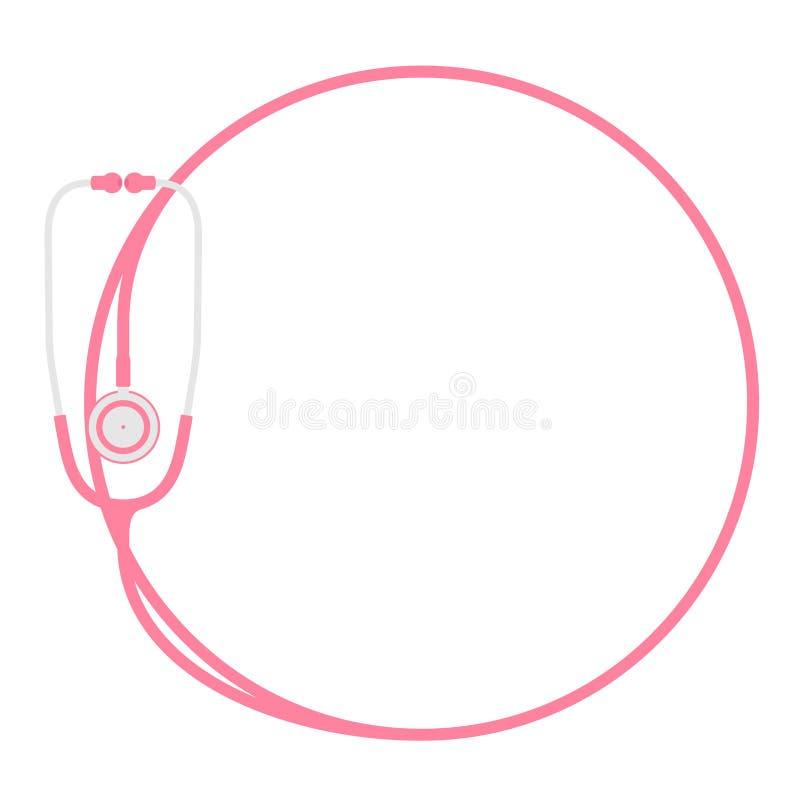 听诊器桃红色颜色和圈子塑造由缆绳平的设计做的框架 皇族释放例证