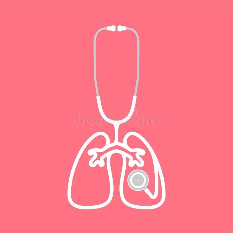 听诊器白色颜色和肺签署由小室做的标志形状 皇族释放例证
