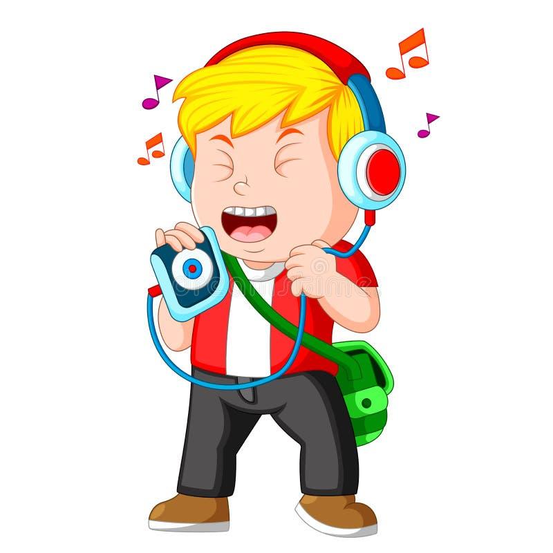 听音乐和唱歌的小男孩 皇族释放例证