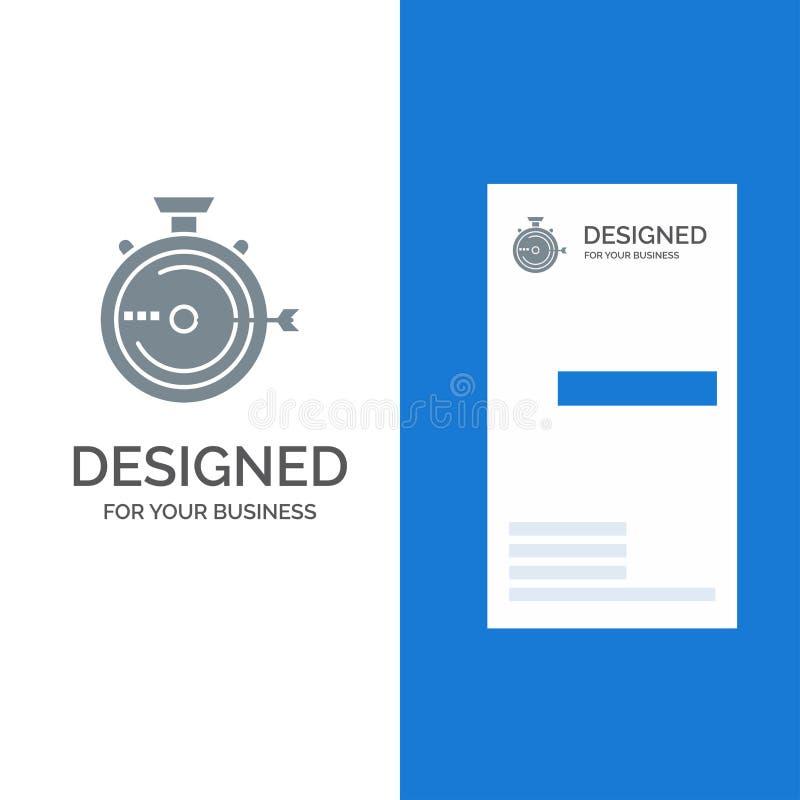 启动、管理、优化、发布、秒表灰色徽标设计和名片模板 向量例证