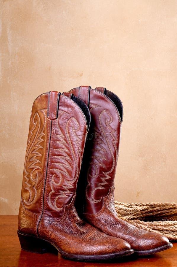 启动棕色牛仔对绳索 免版税库存图片