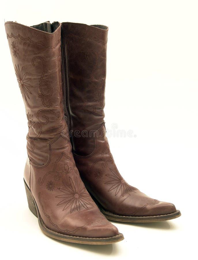 启动棕色牛仔查出的皮革 免版税库存照片