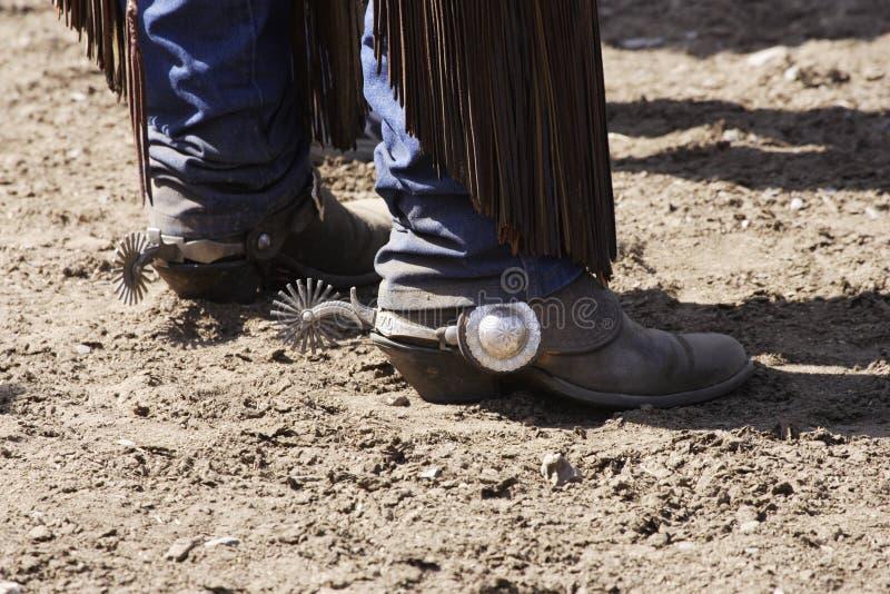 启动牛仔踢马刺 图库摄影