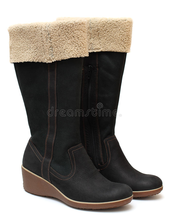 启动穿上鞋子二冬天 免版税库存照片