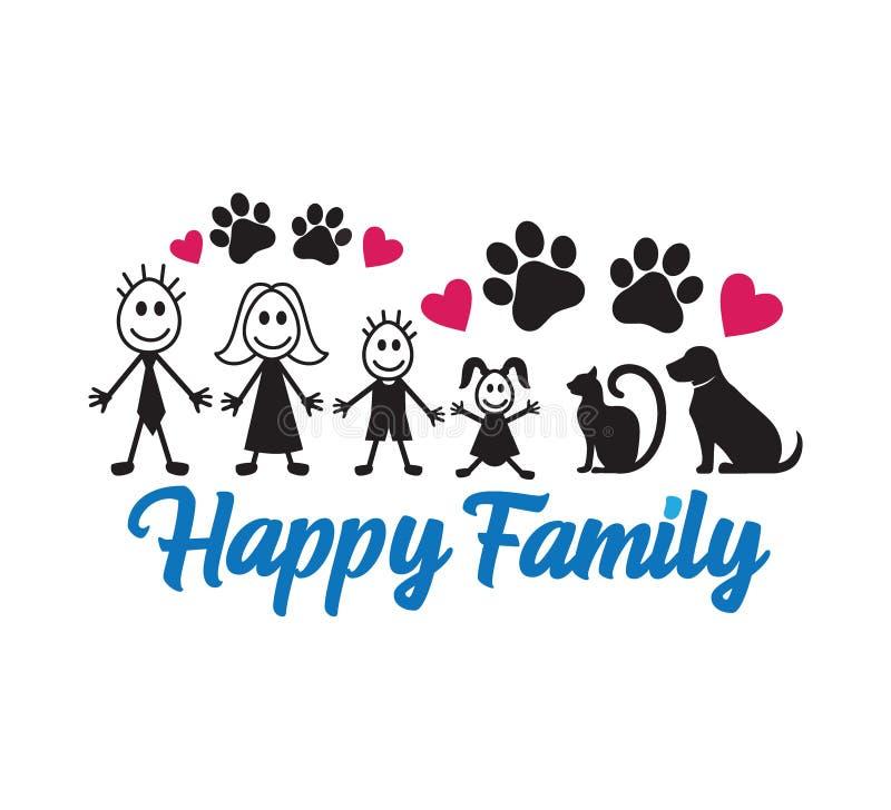 启发滑稽的行情向量图形设计纪念品打印的和切割机的幸福家庭 向量例证