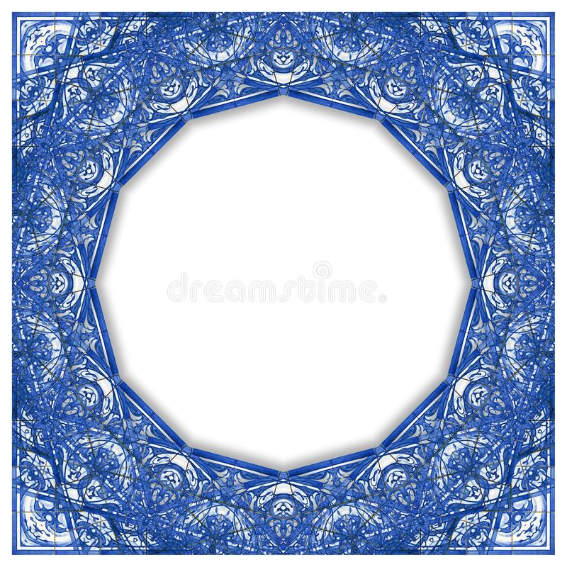 启发的框架设计与色的瓷砖的典型的葡萄牙装饰叫azulejos -与拷贝的概念图象 皇族释放例证