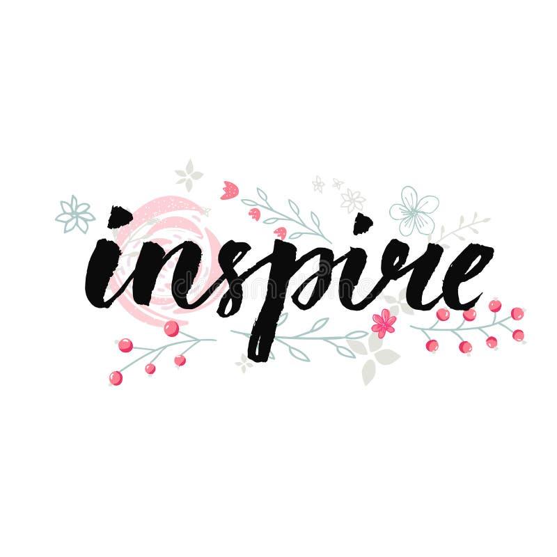 启发 与粉红彩笔的手写的词开花装饰 激动人心的字法 库存例证