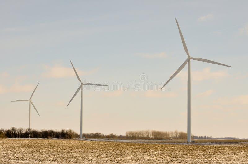 启用风的3个印第安纳涡轮 库存照片