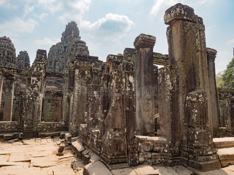 吴哥洞 巴音寺古石面 暹粒,柬埔寨 免版税图库摄影
