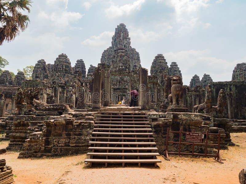吴哥洞 巴音寺古石面 暹粒,柬埔寨 库存照片