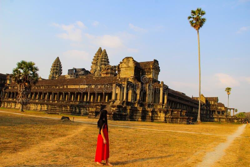 吴哥窟寺庙在暹粒市 免版税库存图片
