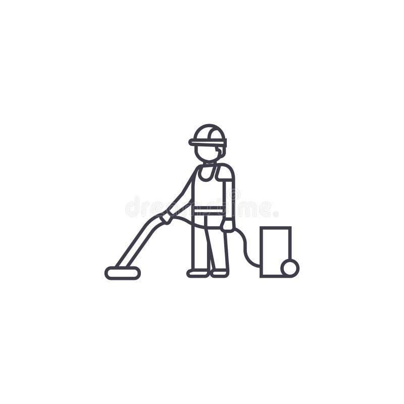 吸尘家庭清洁传染媒介线象,标志,在背景,编辑可能的冲程的例证 向量例证