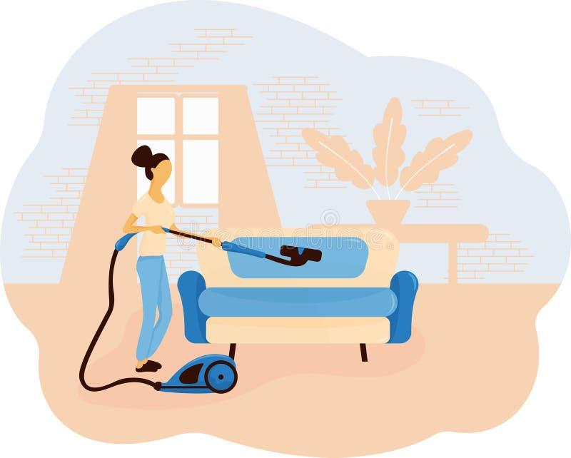 吸尘沙发的妇女以一个窗口、一个砖墙和一张桌为背景与植物 在一棵波浪无花果的平的构成 库存例证