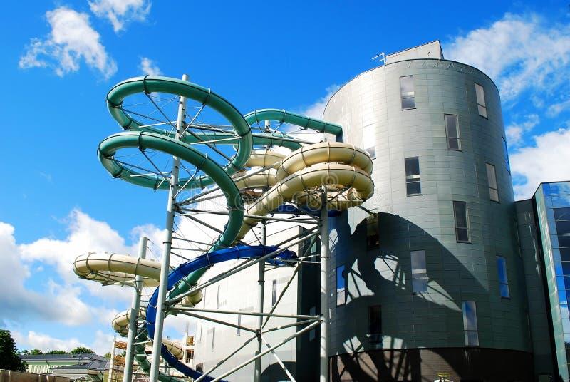 水吸引力公园在德鲁斯基宁凯温泉城市 免版税库存照片