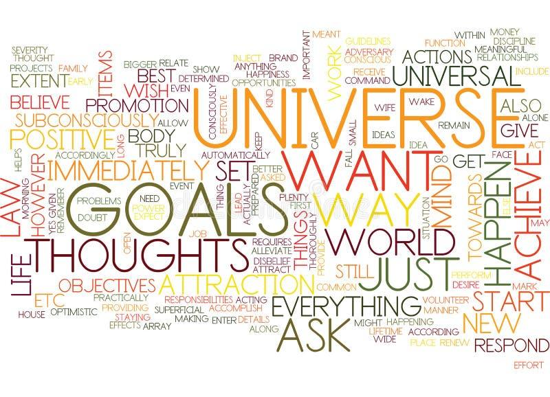吸引宇宙并且达到您的目标词云彩概念 库存例证