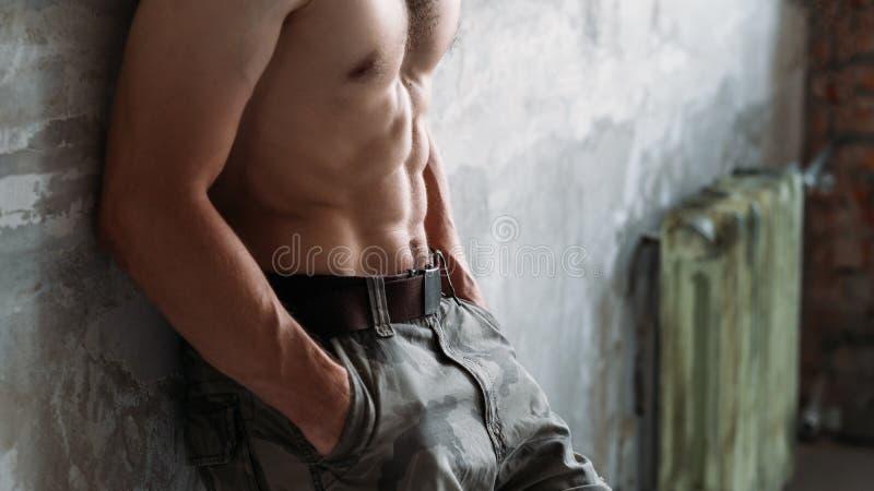 吸收光秃的胸口性感的适合身体强的肌肉 免版税库存图片