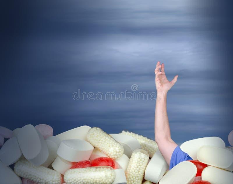吸毒瘾慢性止痛药求救 免版税库存照片