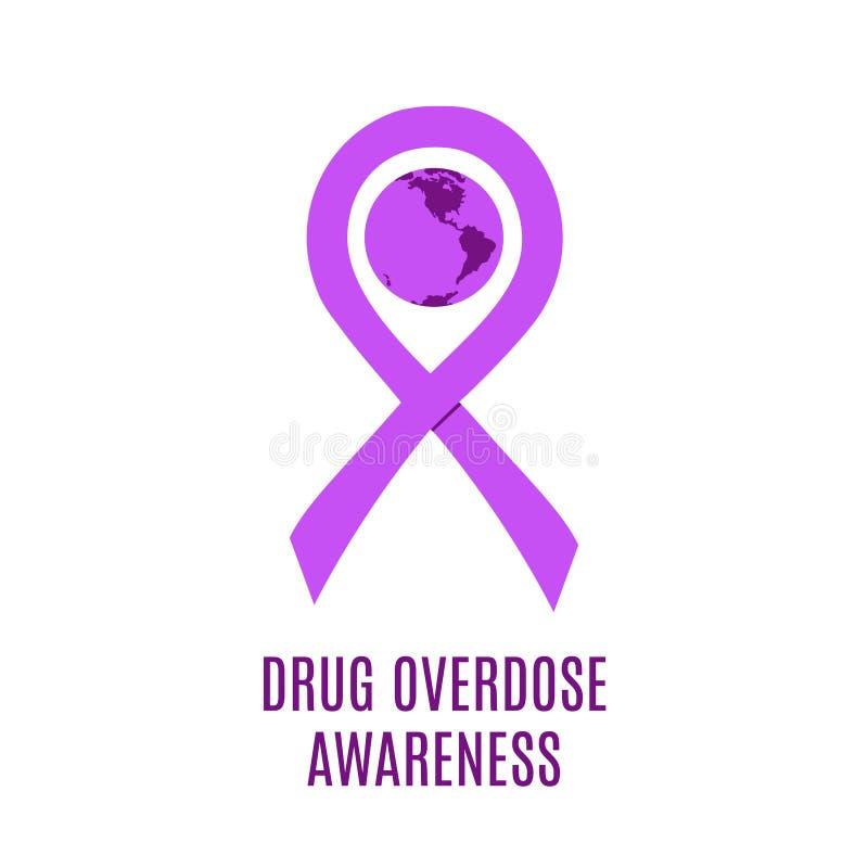 吸毒过量了悟天紫色丝带传染媒介例证 皇族释放例证