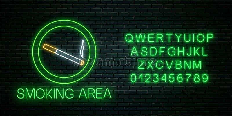 吸烟区的发光的霓虹灯广告与字母表的 尼古丁和烟香烟站点 皇族释放例证