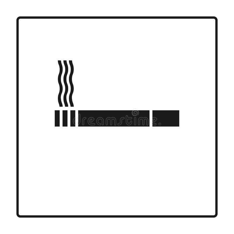 吸烟区线象,在白色和线性图表隔绝的香烟概述 香烟象 抽烟的符号 烟草标志 Th 皇族释放例证