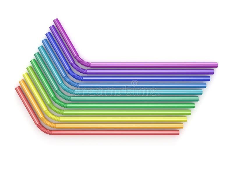 吸管彩虹颜色 被安排的,顶视图 3d 库存例证