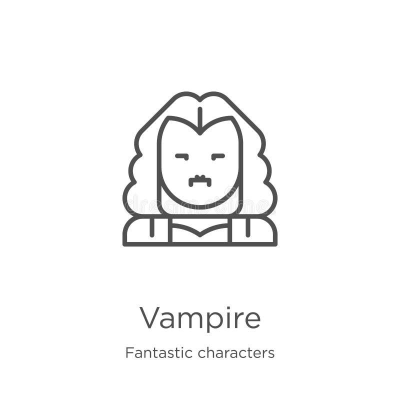 吸血鬼从意想不到的字符收藏的象传染媒介 稀薄的线吸血鬼概述象传染媒介例证 概述,稀薄的线 库存例证